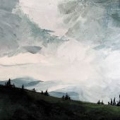 Artist's Private Collection - Northern New Mexico acrylic landscape, hailstorm at Tsikomo