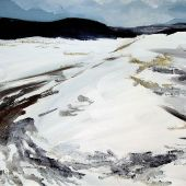 """AVAILABLE 18"""" x 24"""" - Sangre de Cristo Mountains foothills in Northern New Mexico: a winter acrylic landscape"""