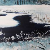 """AVAILABLE 36"""" x 24"""" - Sandgate Vermont: Green River in winter, acrylic landscape"""