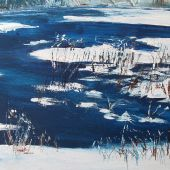 """AVAILABLE 16"""" x 12"""" - Sandgate Vermont: pond in winter, acrylic landscape"""
