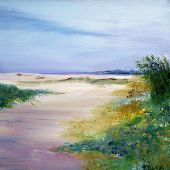 Artist's Private Collection - Seabright Beach in Santa-Cruz, California: acrylic landscape