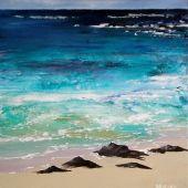 Sold to Private Collector - Kiahuna Plantation, Po'ipu Kaua'i, Hawai'i: Beach - acrylic landscape