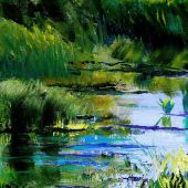 """AVAILABLE 10"""" x 10"""" - Mendocino California: Shallow pond - acrylic landscape"""