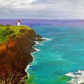 "AVAILABLE 16"" x 20"" - Kilauea Lighthouse: Kaua'i Hawai'i - acrylic landscape"