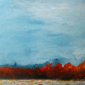 """AVAILABLE 16"""" x 20"""" - Manchester Vermont: Winter field - acrylic landscape"""