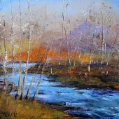 """AVAILABLE 20"""" x 20"""" - Sandgate Vermont: Green River in the Fall - acrylic landscape"""