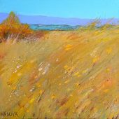 Sold to Private Collector - Baylands, San Francisco Bay, Palo Alto: Summer in California - acrylic landscape