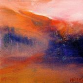 """AVAILABLE 10"""" x 10"""" - Sandgate Vermont, Fall: Field and mountains - acrylic landscape"""