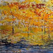 """AVAILABLE Framed 26"""" x 20"""" - Vermont: Fall, Green River"""